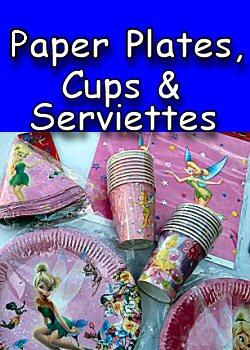 Kids Paper Plates, Cups, Serviettes