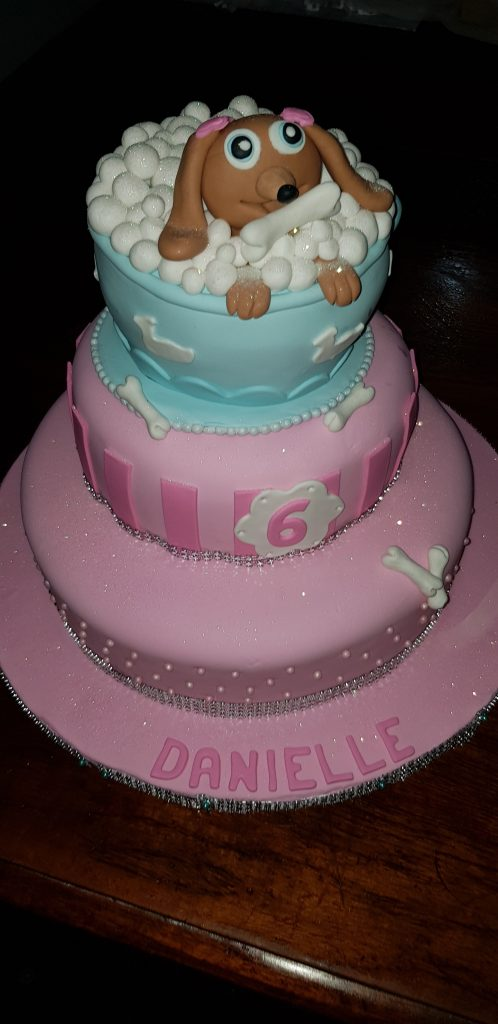 Surprising 3 Tier Dog Themed Cake Danielle Celebrating Her 6Th Birthday Funny Birthday Cards Online Bapapcheapnameinfo