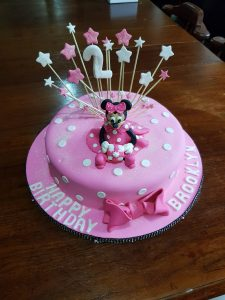Pleasing Minnie Mouse Birthday Cake For Brooklyn Celebrated Her 2Nd Personalised Birthday Cards Veneteletsinfo